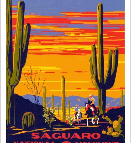 Saguaro National Park Vintage Travel Poster Sticker