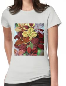 Red Flowers Womens Fitted T-Shirt