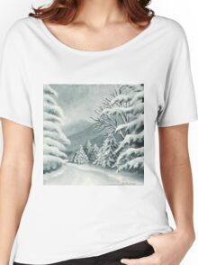 Forest Path on a Snowy Day Women's Relaxed Fit T-Shirt