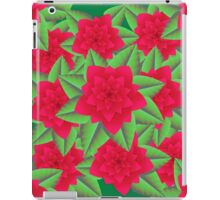 Dark Red Camellias and Green Leaves iPad Case/Skin