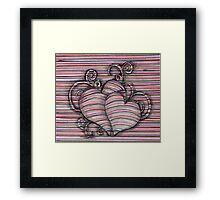 Heart 3d style line Framed Print