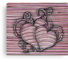 Heart 3d style line Canvas Print