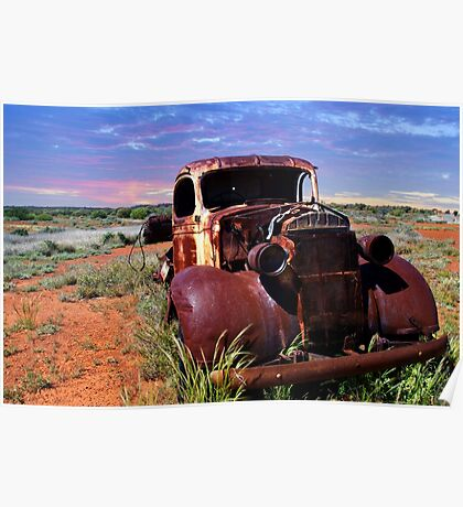 A rusty old pick-up truck in a field Poster