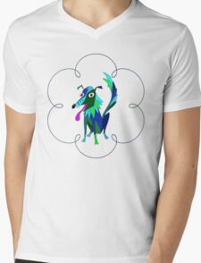 Border Collie Boho Mens V-Neck T-Shirt