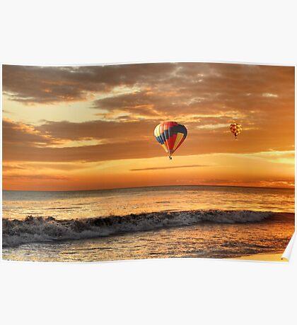 Hot air balloons over sunset beach Poster