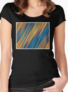 Color and Form Abstract - Striped Line Rain of Yellows and Blues Women's Fitted Scoop T-Shirt