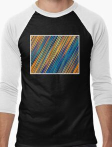 Color and Form Abstract - Striped Line Rain of Yellows and Blues Men's Baseball ¾ T-Shirt