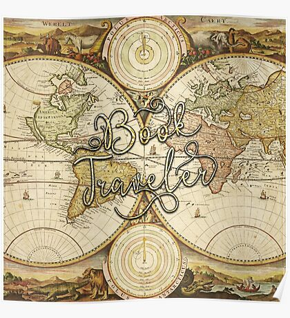 Book Traveler Vintage Map Poster