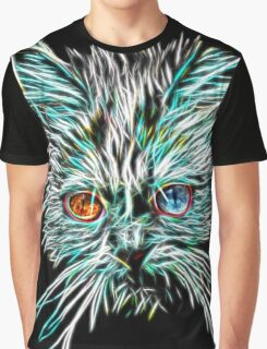 Odd-Eyed White Glowing Cat Graphic T-Shirt