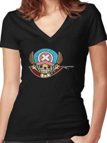 <ONE PIECE> Chopper Zip Women's Fitted V-Neck T-Shirt