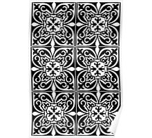 Moroccan tile - white and black  Poster