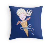 Marie Antoinette Ice Cream Cone with Bat Wings Throw Pillow
