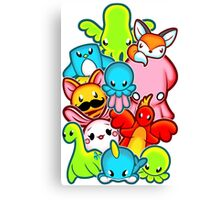 Kawaii Friends. Adorable Creatures. Plushie Party Canvas Print