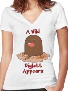Pokemon Diglett Women's Fitted V-Neck T-Shirt