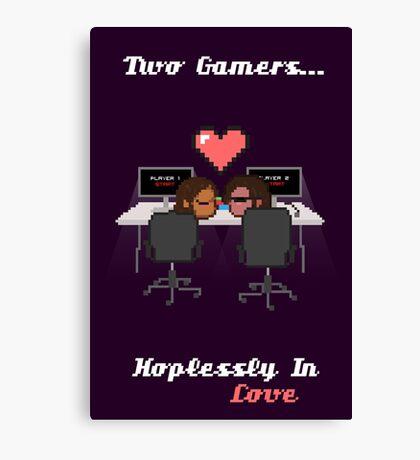 Cute Gamer Couple Canvas Print