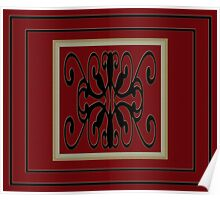 Duvet / Doona & Pillow Maroon & Black Cover Set Poster