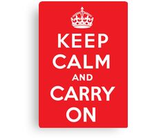 Keep Calm poster - Red Canvas Print