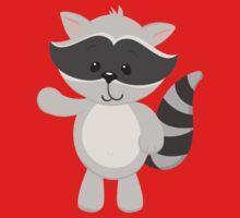 Cartoon Raccoon Waving One Piece - Short Sleeve