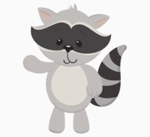 Cartoon Raccoon Waving Kids Tee