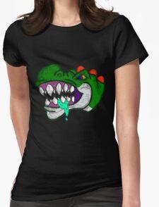 An Unhappy Green Dinosaur Womens Fitted T-Shirt
