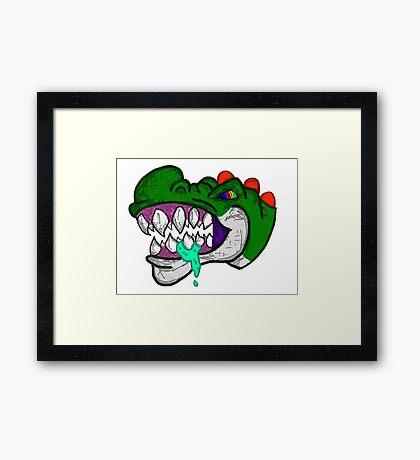 An Unhappy Green Dinosaur Framed Print