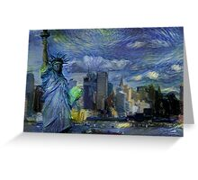 New York City Skyline trapped in Starry Night Greeting Card