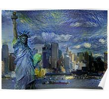New York City Skyline trapped in Starry Night Poster