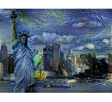 New York City Skyline trapped in Starry Night Photographic Print