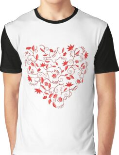 Floral heart shaped pattern Graphic T-Shirt