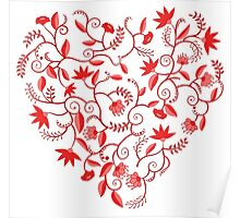 Floral heart shaped pattern Poster