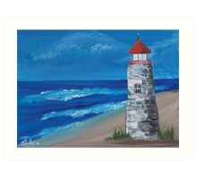 Lighthouse On The Beach Art Print