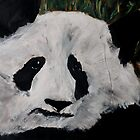 Panda Black And White China Zoo Bear Acrylic Painting by JamesPeart