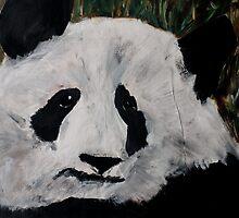 Panda Black And White China Zoo Bear Acrylic Painting by JamesPeart