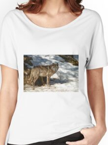 Black Wolf In Snow Women's Relaxed Fit T-Shirt