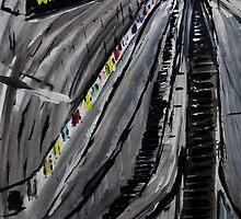 London Underground Escalators Urban City Acrylic Painting  by JamesPeart