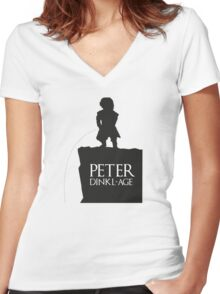 Peter having a Dinkl-age Women's Fitted V-Neck T-Shirt