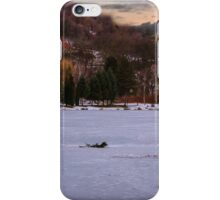 Drummer in snow winter scene iPhone Case/Skin