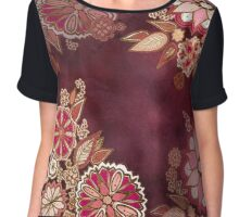 Golden Embroidery Flowers Chiffon Top