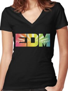 EDM Rainbow Women's Fitted V-Neck T-Shirt