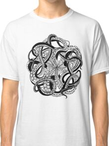 Octopus black and white doodle Classic T-Shirt