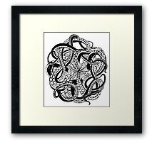 Octopus black and white doodle Framed Print