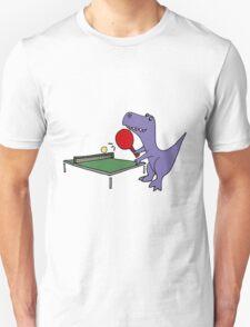 Cool Funky Purple T-Rex Dinosaur Playing Table Tennis Unisex T-Shirt