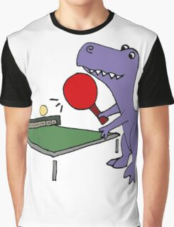 Cool Funky Purple T-Rex Dinosaur Playing Table Tennis Graphic T-Shirt
