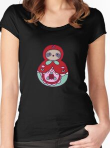 Russian Doll Sloth Women's Fitted Scoop T-Shirt