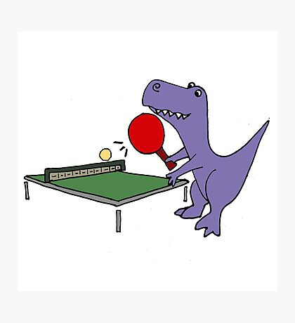 Cool Funky Purple T-Rex Dinosaur Playing Table Tennis Photographic Print
