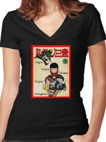 Vintage Lupin Comics Women's Fitted V-Neck T-Shirt