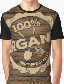 Eco stamp label of healthy organic natural fresh farm food scorched on wood Graphic T-Shirt