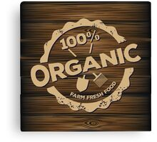 Eco stamp label of healthy organic natural fresh farm food scorched on wood Canvas Print