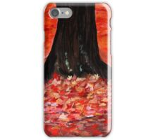 Autumn Fall Yellow Red Fallen Leaves Contemporary Acrylic Painting iPhone Case/Skin