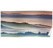 Val DOrcia, misty morning Poster